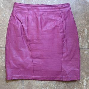Vintage Yucatan Bay Light Fuschia Leather Skirt